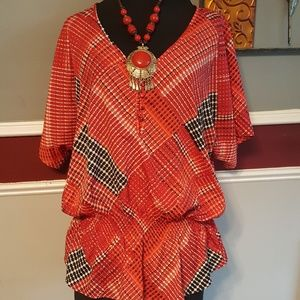 "JACLYN SMITH ""blousy"" Blouse Sz Large  red/blac"